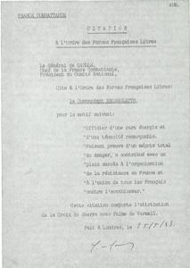 Croix de Guerre avec palme de Vermeil Pierre Brossolette, le 25 mai 1942