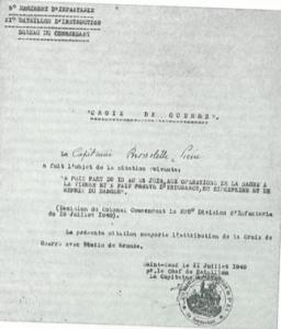 Croix de guerre Pierre Brossolette, le 11 juillet 1940