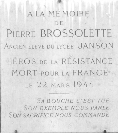 Plaque Pierre Brossolette Janson de Sailly