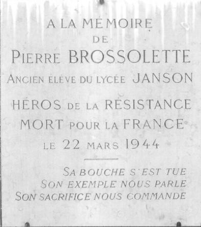 Plaque Pierre Brossolette Janson de Sailly