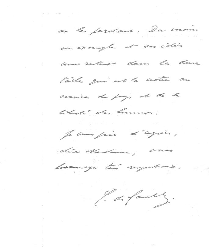 Lettre Charles de Gaulle 1er anniversaire 1945 2