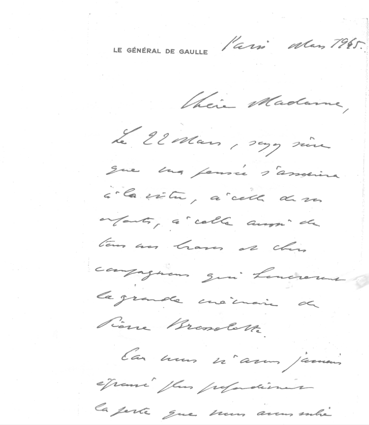 Lettre Charles de Gaulle 1er anniversaire 1945